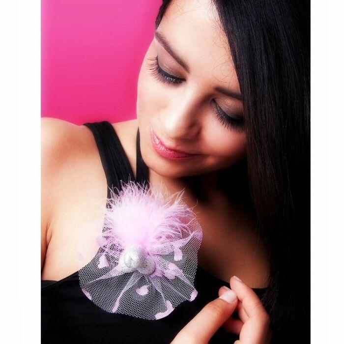 Pito Brosche mit rosa Tüll